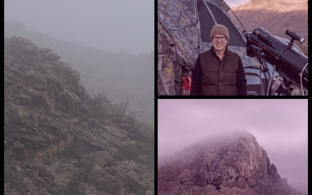 photo combination of foggy mountain shots and the cameraman